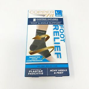 Copper Fit Foot Relief Compression Foot & Ankle Sleeve, Unisex Large