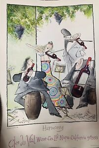 Ronald Searle Wine Prints Set Of Five 1981 Clos du Val Wine Company