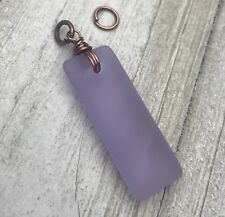 & Antique Copper Necklace Pendant Min Favorit Lavender Sea Glass Rectangle