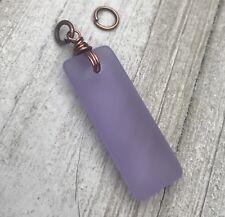 Min Favorit Lavender Sea Glass Rectangle & Antique Copper Necklace Pendant