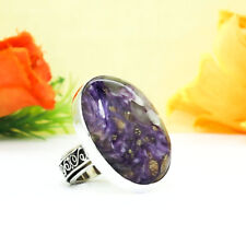 73CTS  NATURAL CHAROITE BEAUTIFUL VINTAGE STYLE PLATED SILVER RING =US:6HANDMADE