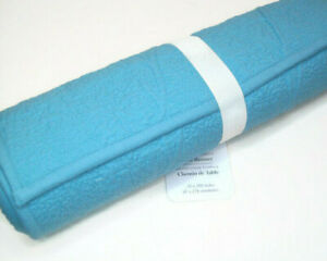 "Williams Sonoma Cotton Lite Blue Vine Floral Boutis Dinner Table Runner 16""X108"""