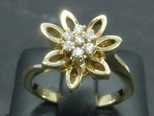 Ring bague anello 585 GOLD Brillant Diamant diamond Blüte Blume flower or 14kt