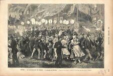 Retraite aux Flambeaux à Anvers Centenaire de Rubens Fête Belgique GRAVURE 1877