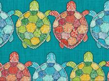 Drapery Upholstery Fabric Slubbed Linen-Look Cotton Turtle Print - Turquoise