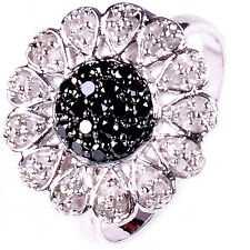 1.15. ct BLACK & WHITE Raw REAL NATURAL DIAMOND .925 Sterling SILVER RING SIZE 7