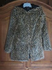 Forever 21 Women's Faux Fur Cheetah Hooded Coat Jacket Size S