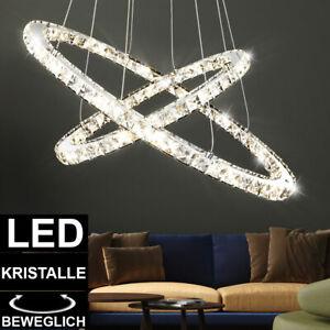 LED Kristall  Hänge Decken Lampe Wohn Zimmer Ring Kronleuchter Pendel Lüster