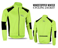 Mens Cycling Windstopper Winter Jacket Thermal Fleece Windproof Coat Hiviz Green