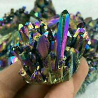 100% Natural Quartz Rainbow Titanium Cluster Mineral Specimen Healing Stone AU