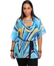 NEW..Plus Size Abstract Print Cowl Neck Tunic Top with Separate Cami..Sz20/3xl