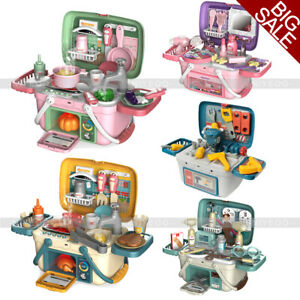 Kids Play Kitchen Toys Food Pretend Role Play Toy Doctor Makeup Set Xmas Gifts