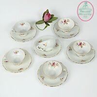 Servizio da caffe antico in porcellana Bavaria tazze tazzine a fiori e oro per 6