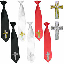 Boys Black White Red Necktie Christening Baptism Gold Silver Embroidered Cross