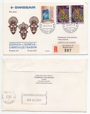 1971 UNITED NATIONS Registered 1st Flight Cover GENÉVE LIBREVILLE GABON Swissair