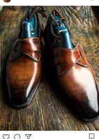 Handmade Leather Two Tone Patina Loafers for Men Custom made shoes men