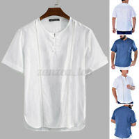 Men's 100%Cotton T Shirt Tee Hippy Shirts Short Sleeve Yoga Shirt Tops Summer