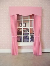 Miniature Doll House 12Th Scale Curtains Drapes Plain Candy Pink 7 1/2 In Long