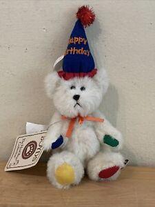 Boyds Bears MINI HAPPY BIRTHDAY BEAR - jointed beige bear #567109 EUC Ornament