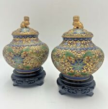 Pair Chinese Champlevé Jars Gold Foo Lion Dog Finial with Custom Wood Stands