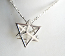 Sterling Silver extra Large Merkaba necklace star tetrahedron charm men's gift