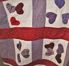 Red Hat Quilt Handmade Purple Floral Hearts Hand Applique Bedspread Full/Queen