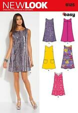 NEW LOOK SEWING PATTERN MISSES' SHIFT DRESS POCKET & TRIM VAR SIZE 10 -22 6125 A