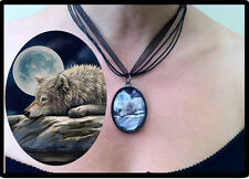 Wolf Pendant Necklace 'Quiet Reflection' Design by Lisa Parker