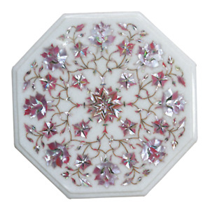 12 Inches Pink Mother of Pearl Work End Table Top Marble Coffee Table Home Decor