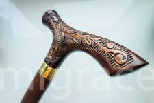 SARMAT Walking STICK Wood Carving Unique Folk Art Brown Wooden Handmade