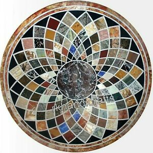 36 Inches Marble Utility Table Top Multi Color Royal Art Dining Table for Hall