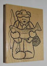 "Fisherman Bear Rubber Stamp Fish Creel Fishing Pole Teddy Large 4.5"" High WM"