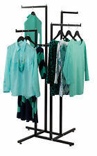 Clothing Rack 4 Way Straight Arms Black Clothes Adjustable Garment Retail