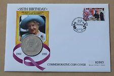 REGINA MADRE 95th Compleanno 1995 MERCURIO COVER + Isola di Man 1 Corona Moneta