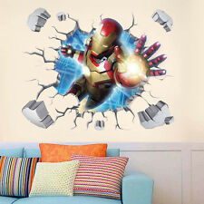 Removable 3D Broken Iron Man Wall Sticker DIY Cartoon Mural Art Decal Kids Room