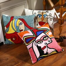 Cushion Cover 100% Cotton Embroidered Picasso Style Sofa Decor Throw Pillow Case