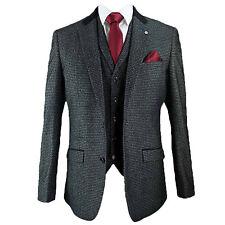Mens 3 Piece Suits Cavani Blazers Trouser Waistcoats Party Suede Collar Jacket