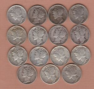15 USA SILVER DIMES 1917 TO 1944 IN FINE TO GOOD VERY FINE CONDITION