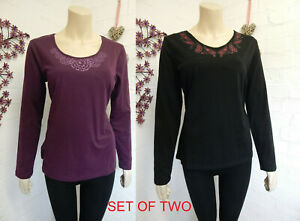 Two T-Shirts Size 14 Black And Purple Ladies Womens Long Sleeved Tops
