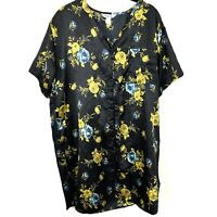 1950s Vanity Fair Nightgown Floral Nylon Large Black Yellow Blue Asian Shiny
