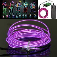 Purple 3M LED Flexible EL Wire Neon Glow Light + 3V Controller Car Party Decor