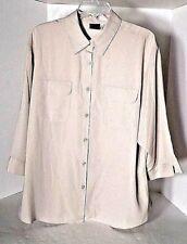 NWT Laura Scott Beige 3/4 Sleeve Button Down Shirt/Blouse Size 20W