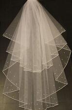 Ivory White 2 Tier Veil Bridal Wedding Veil 2 rows Crystal or Pearl Pencil Edge