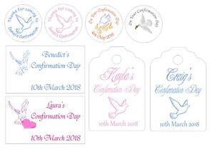 Personalised stickers and tags for Confirmation Day