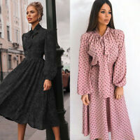 ❤️ Women's Bow-tie Midi Dress Ladies Polka Dot Long Sleeve Evening Party Dress