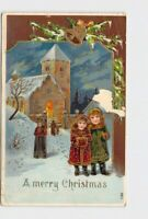PPC POSTCARD MERRY CHRISTMAS GIRLS CHURCH BELL PINE BOUGH GOLD EMBOSSED
