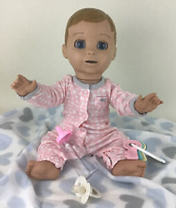 """Luvabella Doll Baby Interactive Blonde Girl 17"""" Talking Movement Accessories Lot"""