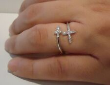 DOUBLE CROSS RING W/ .25CT LAB DIAMONDS / SZ 5 - 9 / 925 STERLING SILVER
