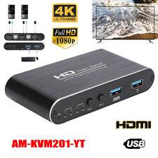 4K HD 2 Port KVM Switch Box Audio Video Switcher HDMI USB Keyboard Mouse Monitor
