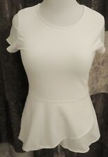 Womens Isaac Mizrahi Live! Short Sleeve Peplum Flounce Knit Top - White - S